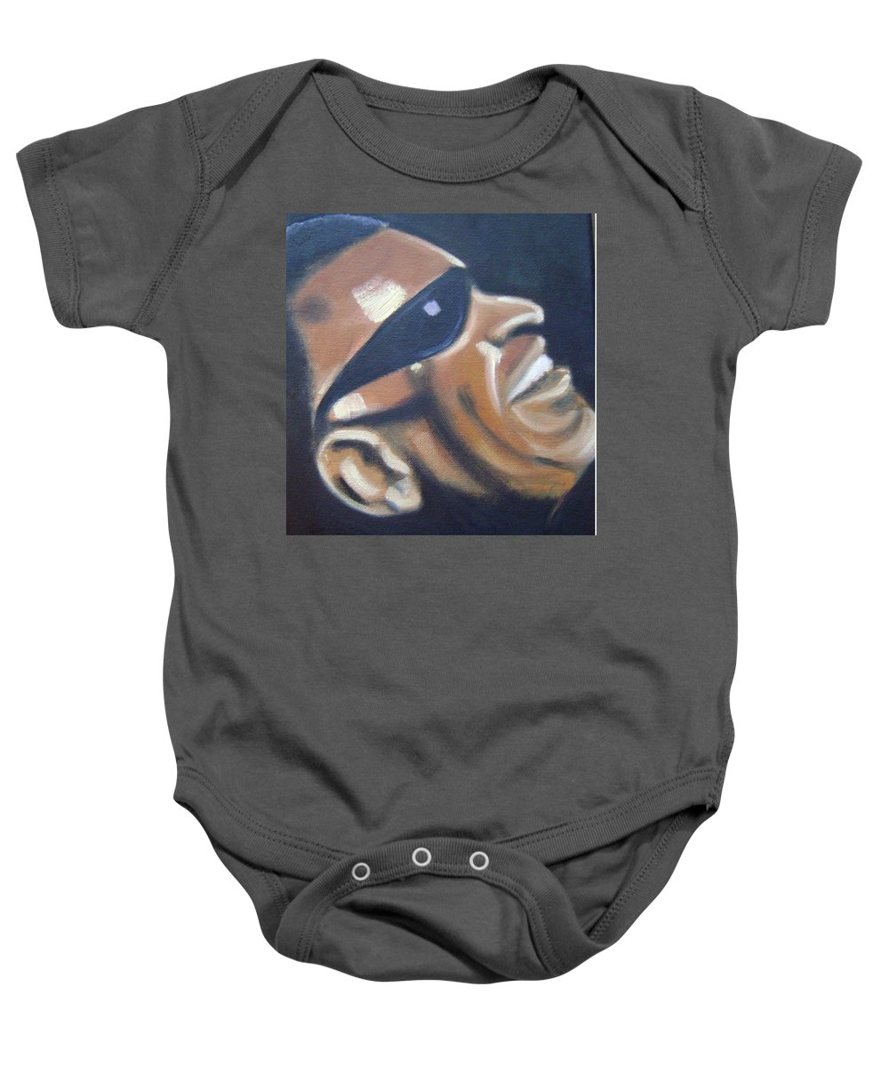 Ray Charles Baby Onesie featuring the painting Ray Charles by Toni Berry