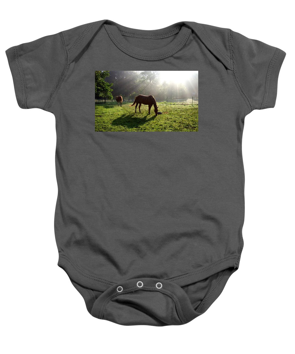 Gandert Baby Onesie featuring the photograph Rays From Heaven by Jenny Gandert