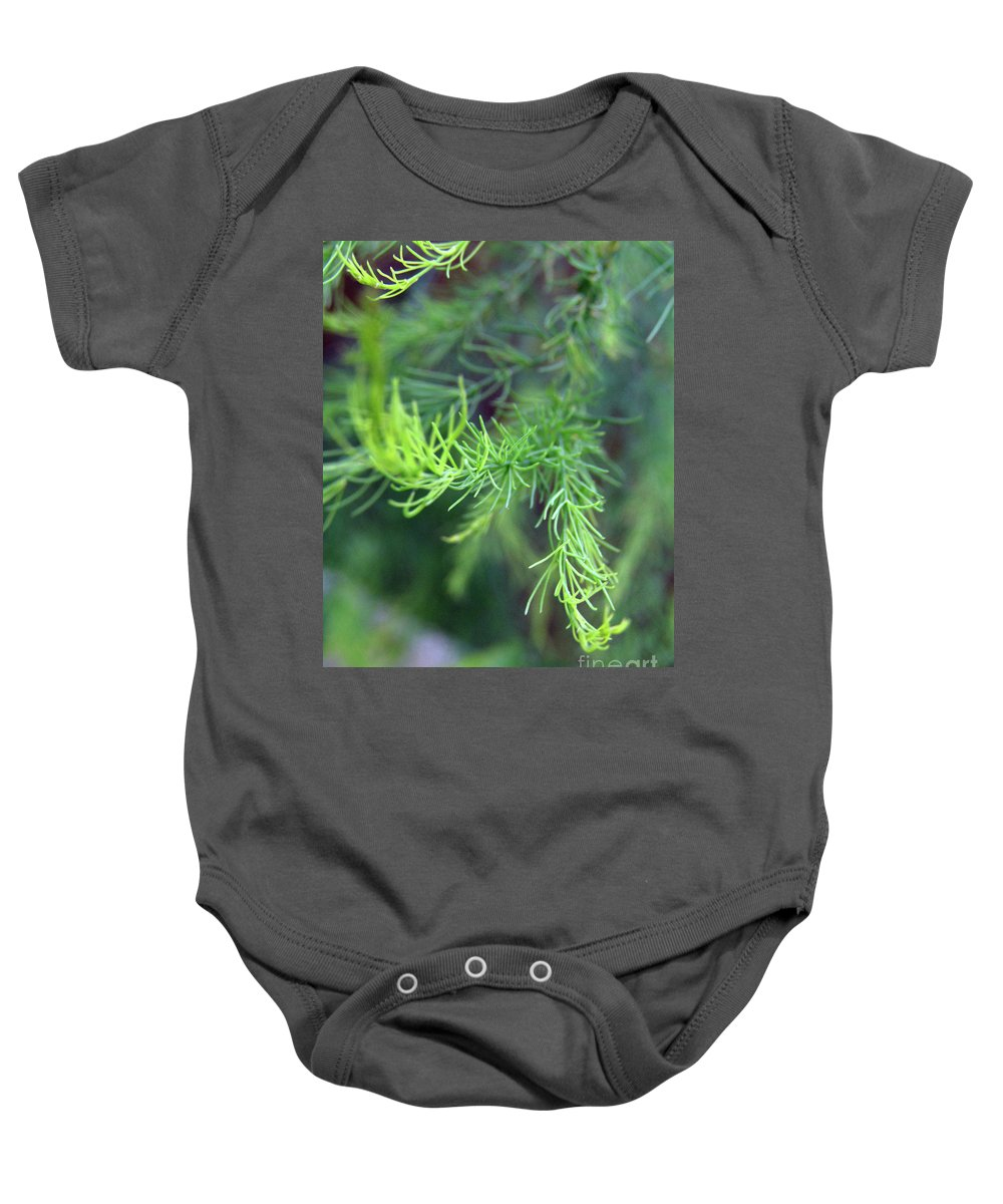 Asparagus Leaves Baby Onesie featuring the photograph Reaching Out 2 by Kim Tran