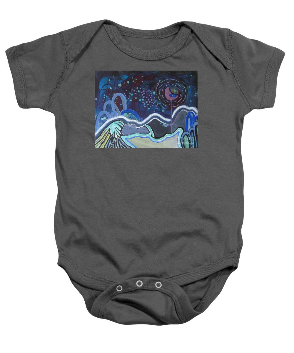 Abstract Paintings Baby Onesie featuring the painting Read My Mind5 by Seon-Jeong Kim