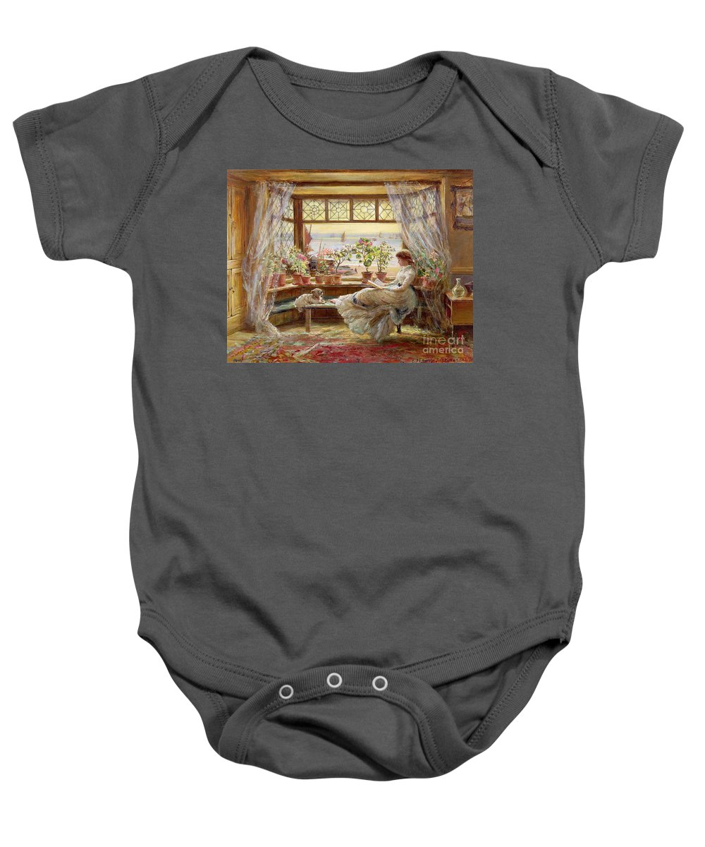 Dog Baby Onesie featuring the painting Reading By The Window by Charles James Lewis
