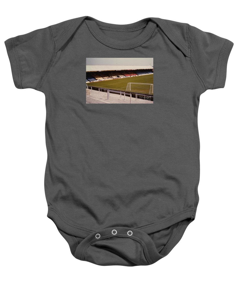 Baby Onesie featuring the photograph Reading - Elm Park - Norfolk Road Stand 4 - 1970s by Legendary Football Grounds