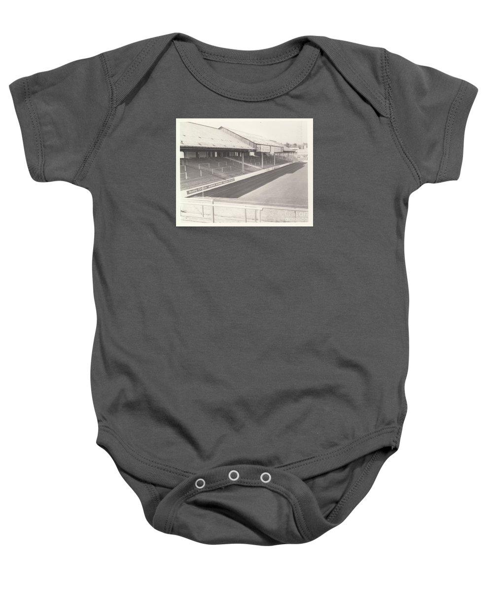 Baby Onesie featuring the photograph Reading - Elm Park - Tilehurst Terrace 1 - Bw - 1970 by Legendary Football Grounds