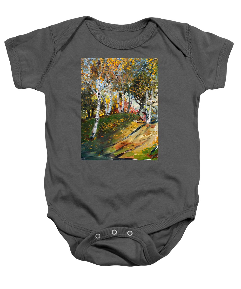Reading Baby Onesie featuring the painting Reading In The Park by Ylli Haruni