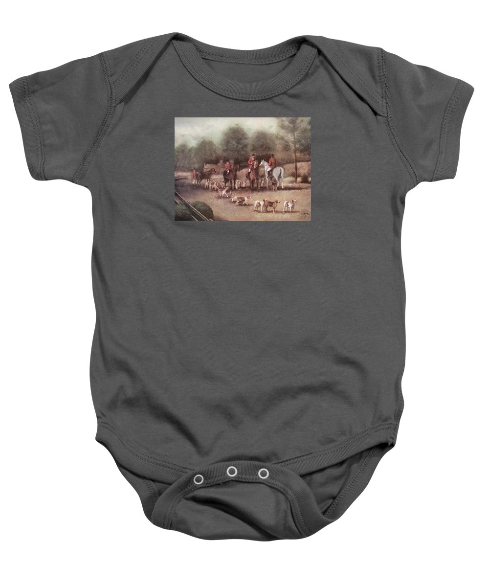 Charles Roy Smith Baby Onesie featuring the painting Ready For The Hunt by Charles Roy Smith