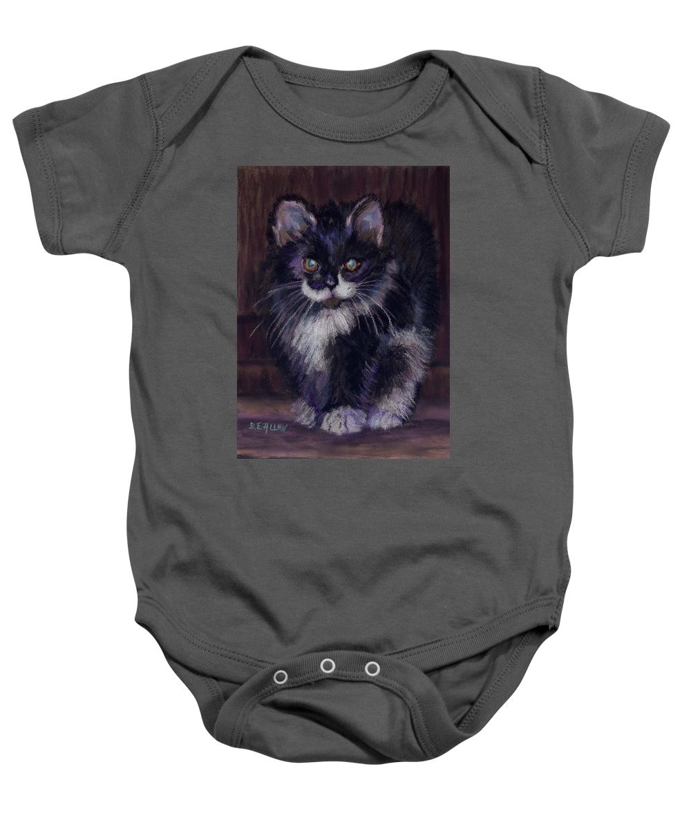 Kitten Baby Onesie featuring the painting Ready For Trouble by Sharon E Allen