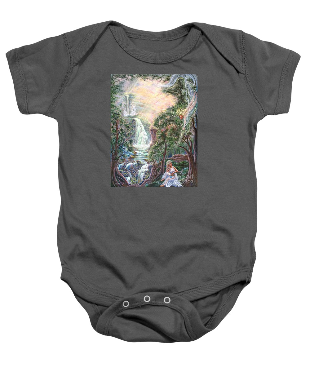 Spiritual Baby Onesie featuring the painting Ready To Fly by Joyce Jackson