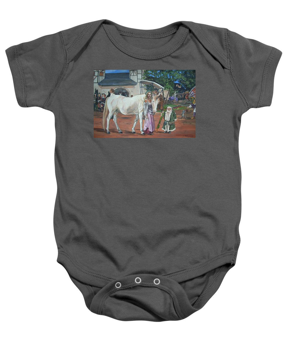 Renaissance Baby Onesie featuring the painting Real Life In Her Dreams by Bryan Bustard