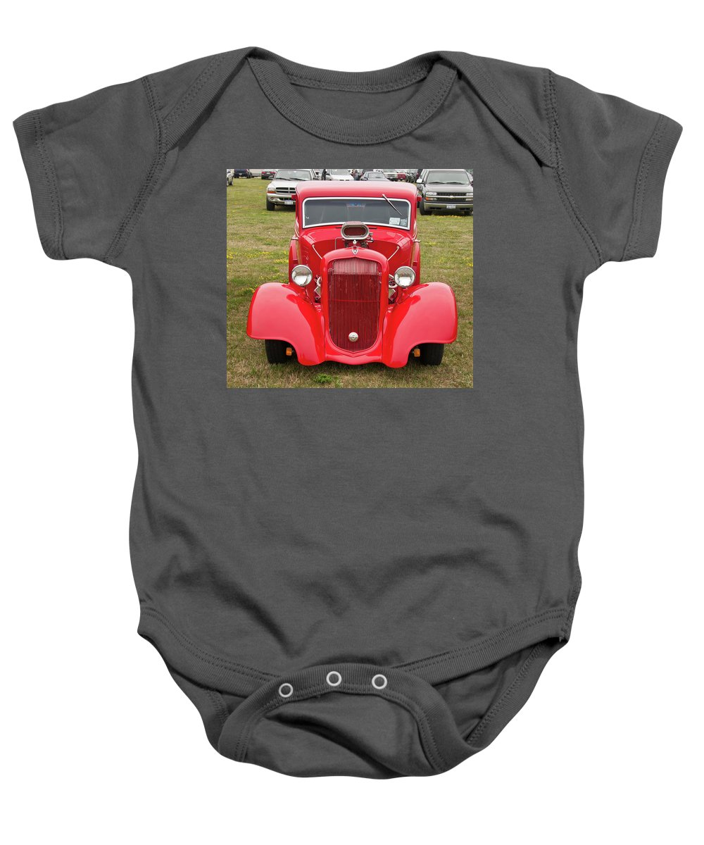 Antique Car Baby Onesie featuring the photograph Red 1990 by Guy Whiteley