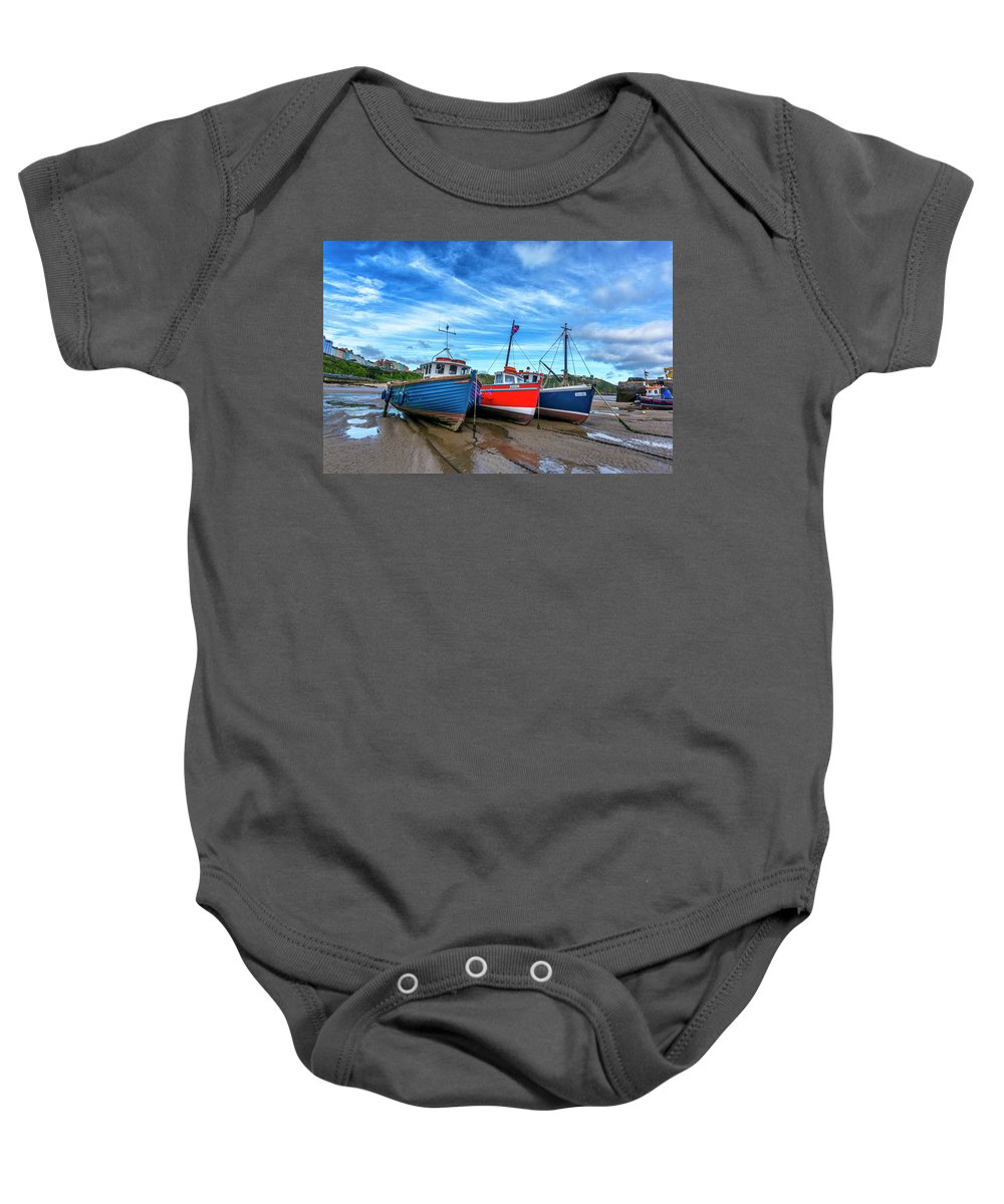 Wales; Uk; Britain; Ocean; Atlantic Baby Onesie featuring the digital art Red And Blue Fishing Boats Tenby Port by Tsafreer Bernstein