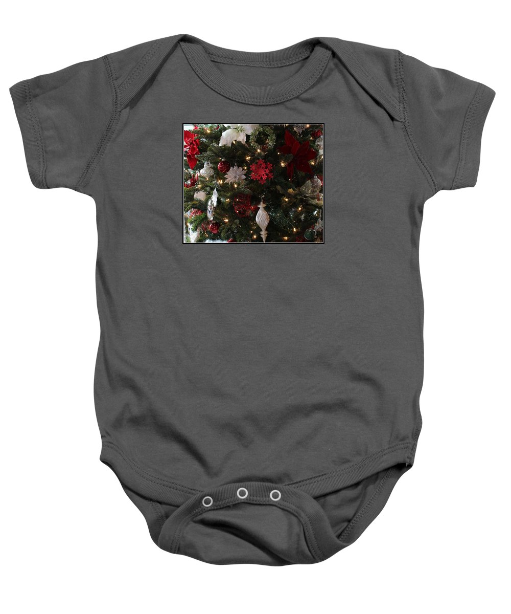 Christmas Baby Onesie featuring the photograph Red And White by Mina Thompson