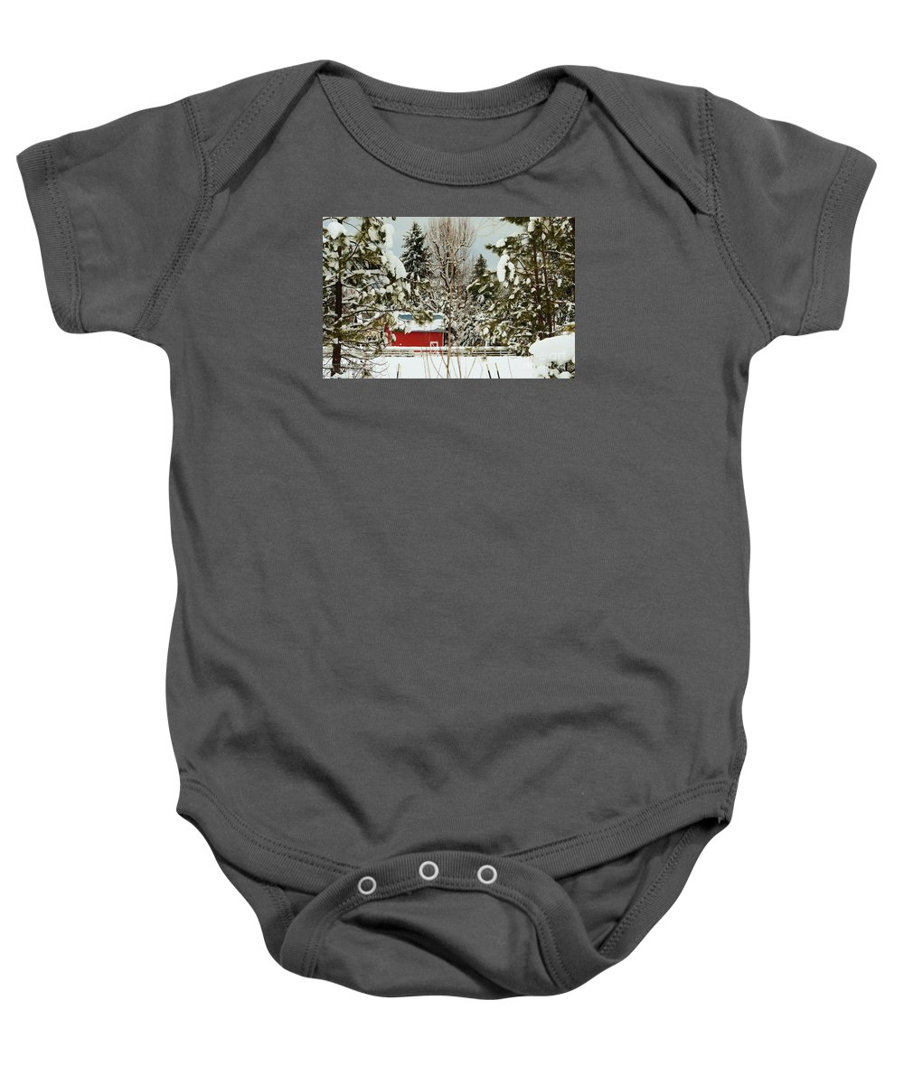 Red Barn Baby Onesie featuring the photograph Red Barn At Christmas by Sylvia Beatty