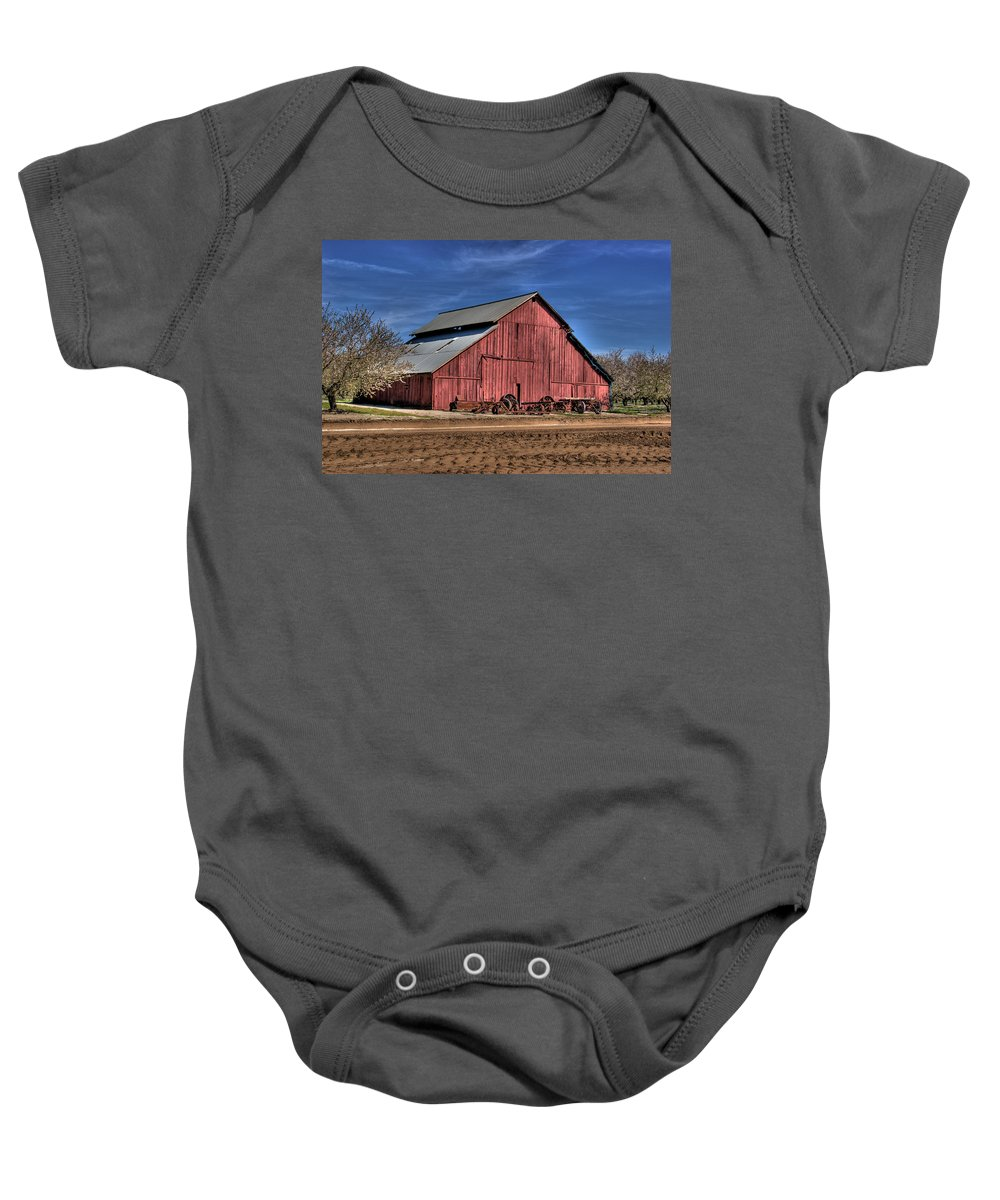 Barn Baby Onesie featuring the photograph Red Barn by Jim And Emily Bush