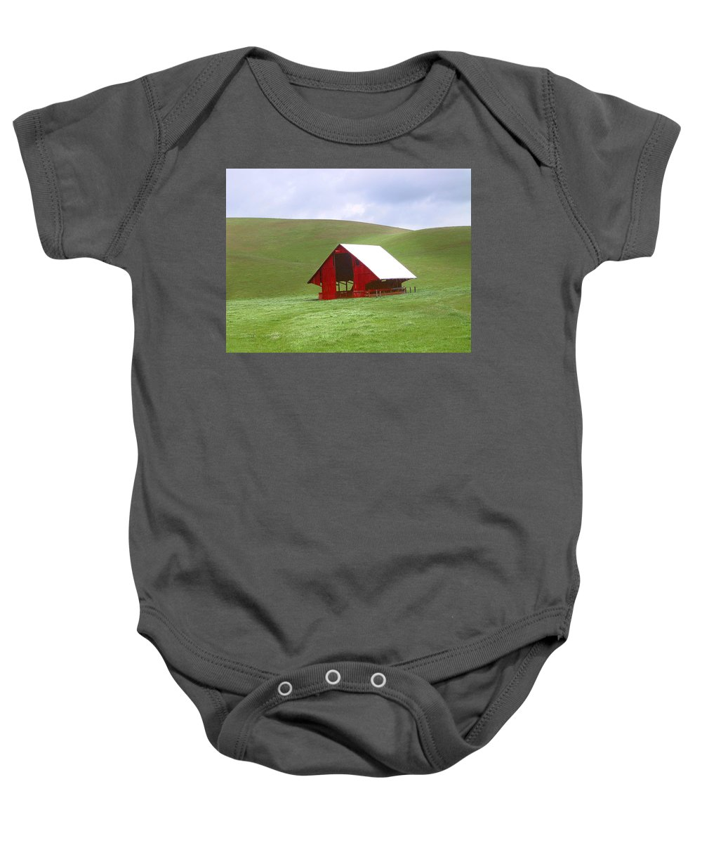 Landscape Baby Onesie featuring the photograph Red Barn In Spring by Karen W Meyer