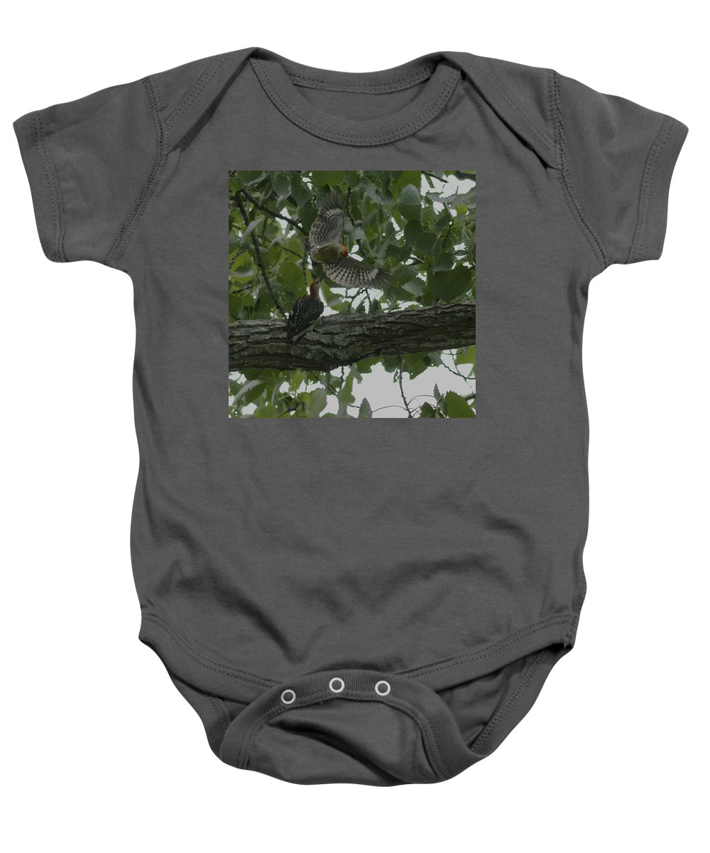 Nature Baby Onesie featuring the photograph Red-bellied Woodpeckers by Billy Stovall