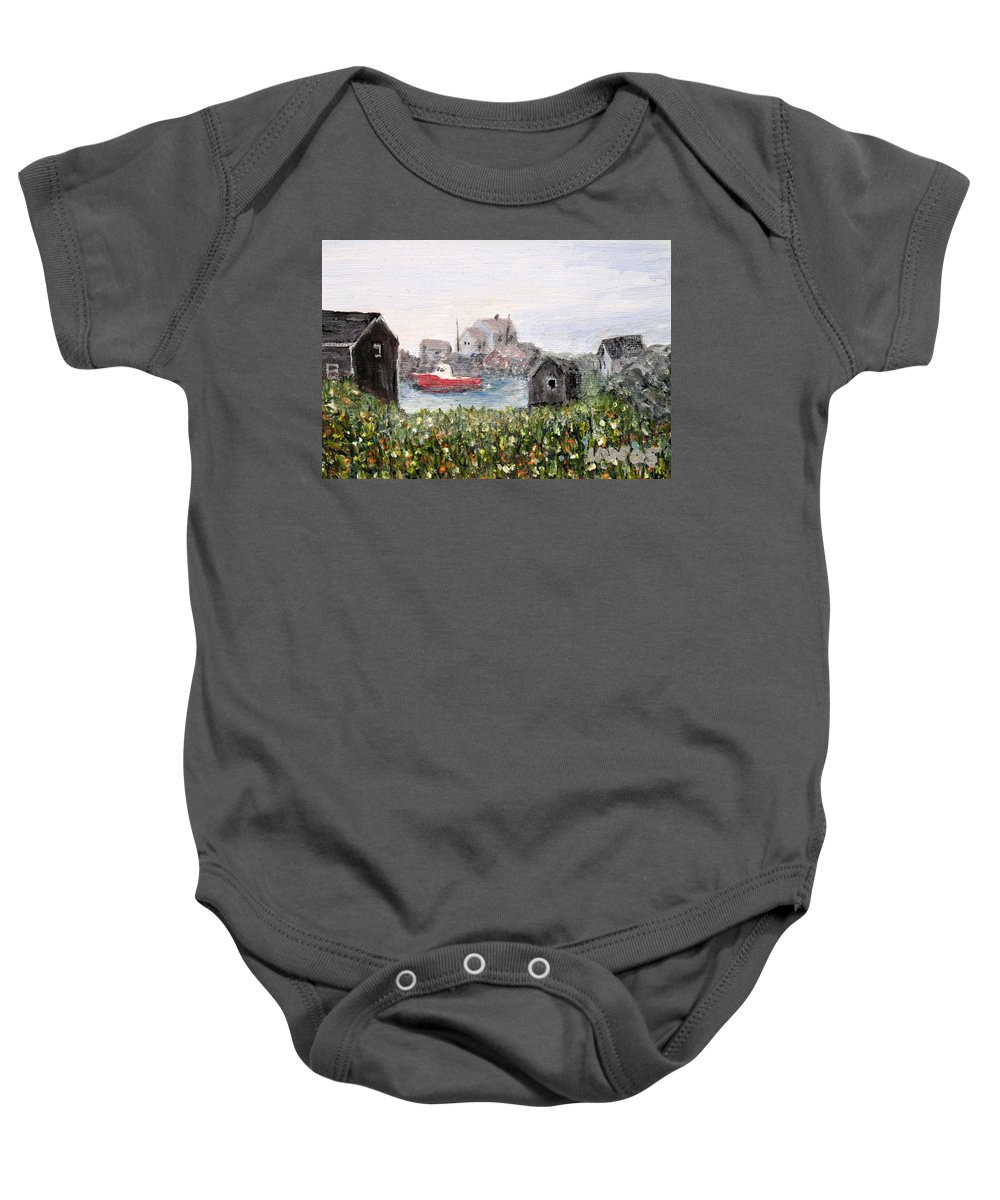 Red Boat Baby Onesie featuring the painting Red Boat In Peggys Cove Nova Scotia by Ian MacDonald