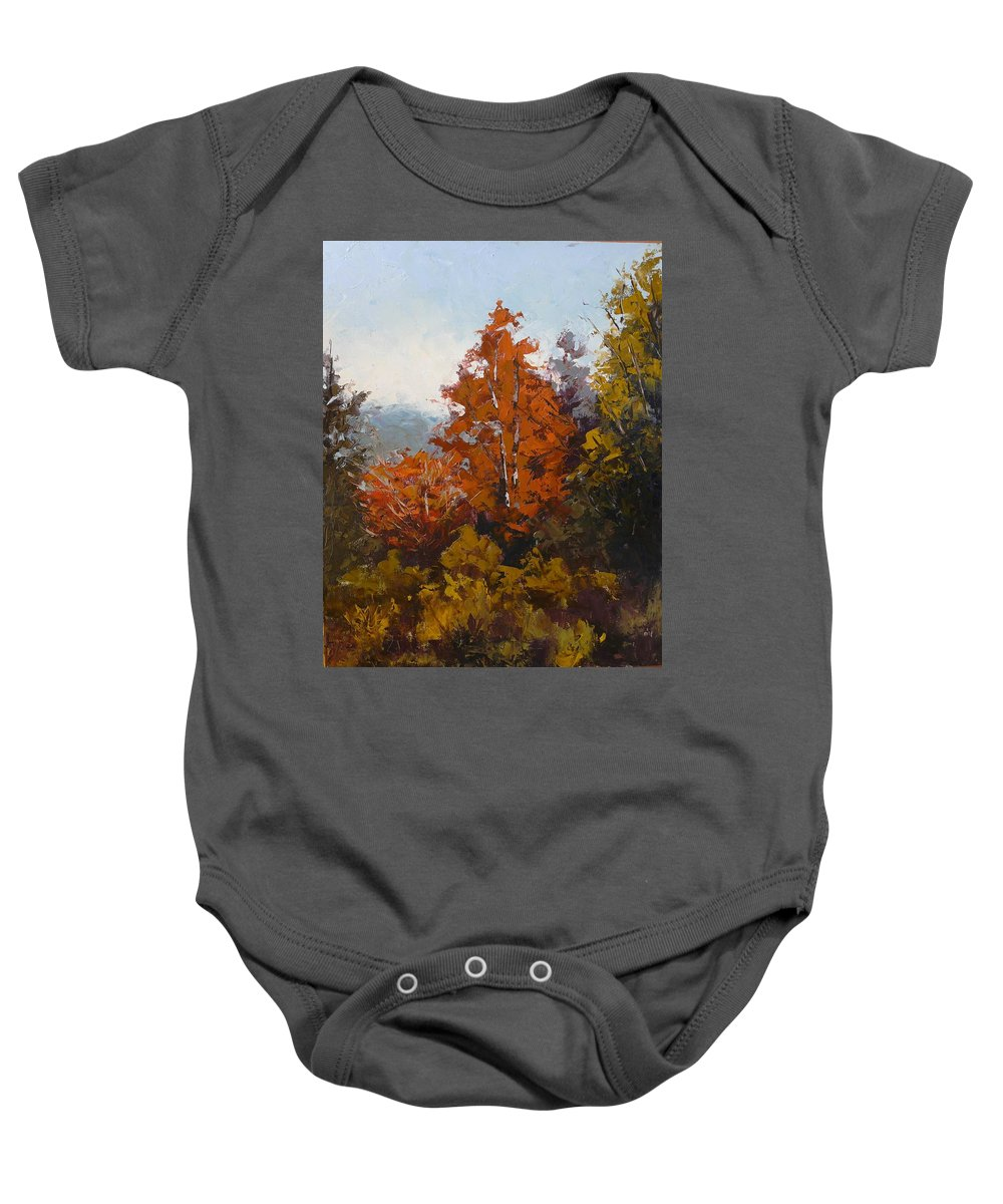 Trees Baby Onesie featuring the painting Red Bush by Yvonne Ankerman