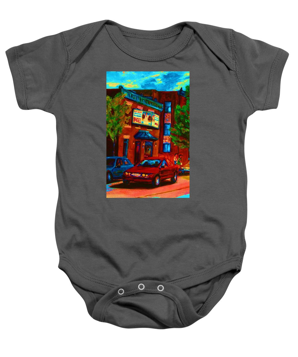 Fairmount Bagel Baby Onesie featuring the painting Red Car Blue Sky by Carole Spandau