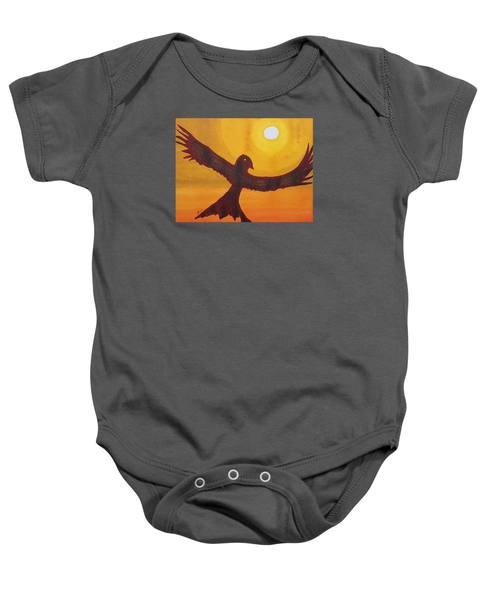 Sol Luckman Baby Onesie featuring the painting Red Crow Repulsing The Monkey Original Painting by Sol Luckman