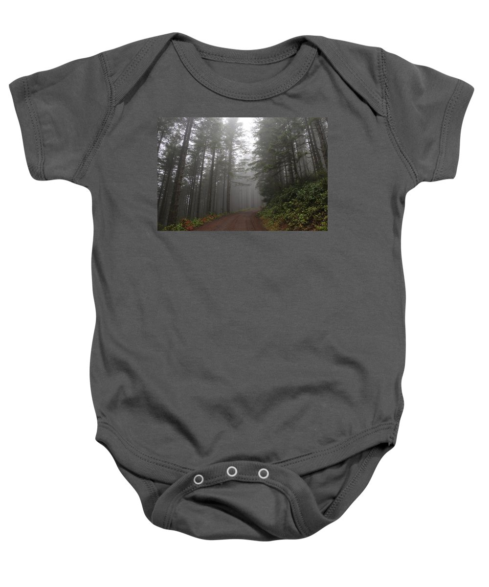 Trees Baby Onesie featuring the photograph Red Dirt Road by Dani Keating