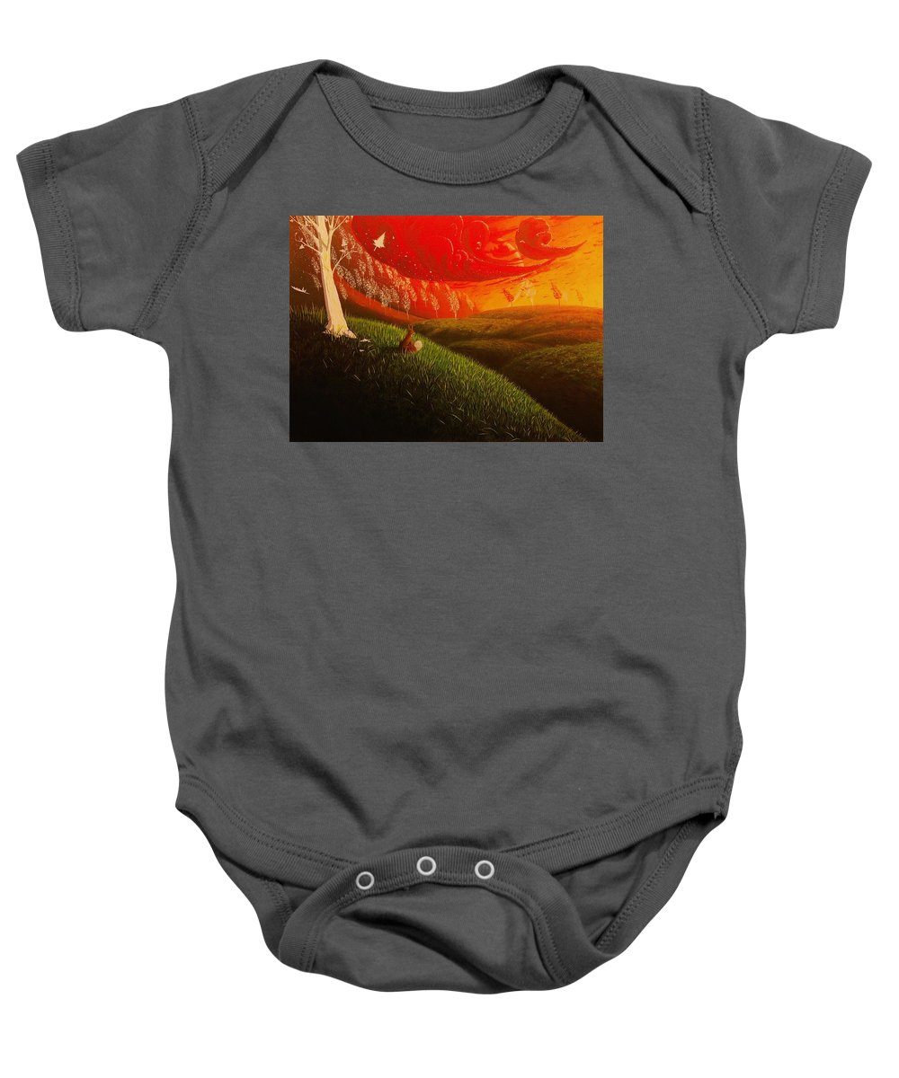 Realism Baby Onesie featuring the painting Red Fox..peaceful by Aldo Sifuentes