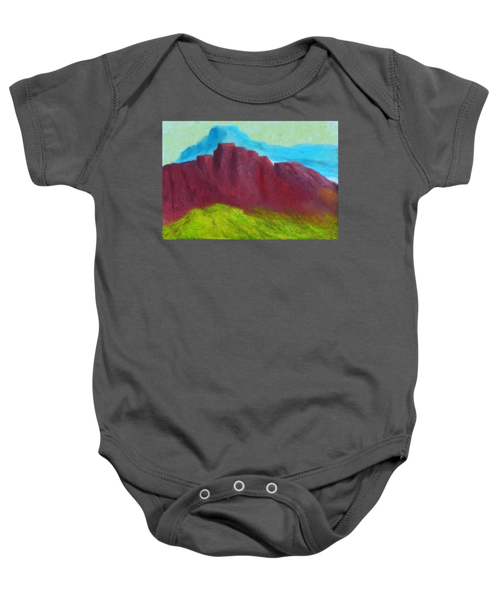 Digital Painting Baby Onesie featuring the digital art Red Hills Revisited. by David Lane