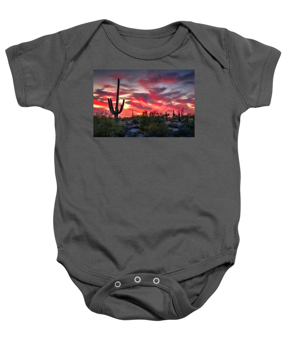 Saguaro Sunset Baby Onesie featuring the photograph Red Hot Sonoran by Saija Lehtonen