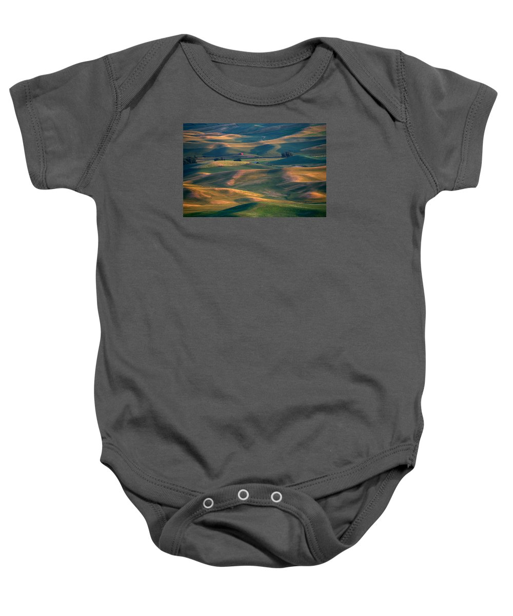 Barn Baby Onesie featuring the photograph Red In A Sea Of Green by Mike Dawson