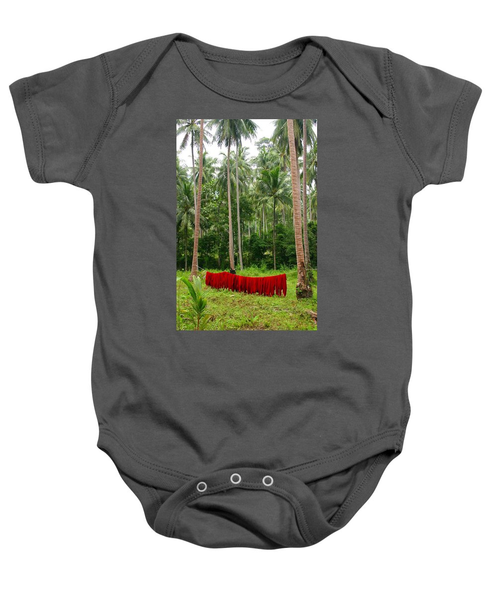 Palm Trees Baby Onesie featuring the photograph Red In The Jungle by Minaz Jantz