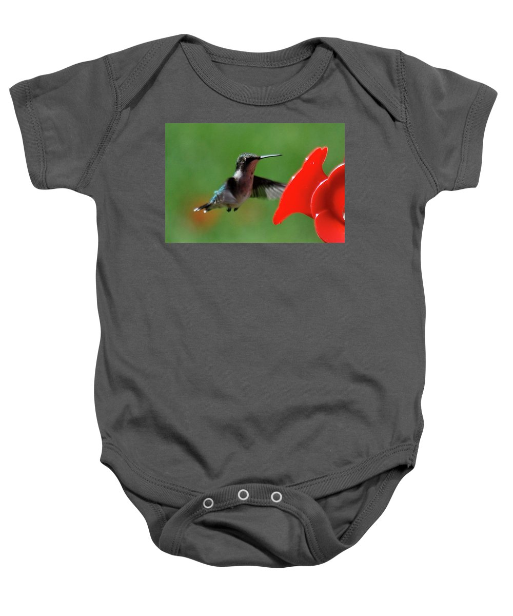 Hummingbird Baby Onesie featuring the photograph Red Is My Favorite Color by Lori Tambakis