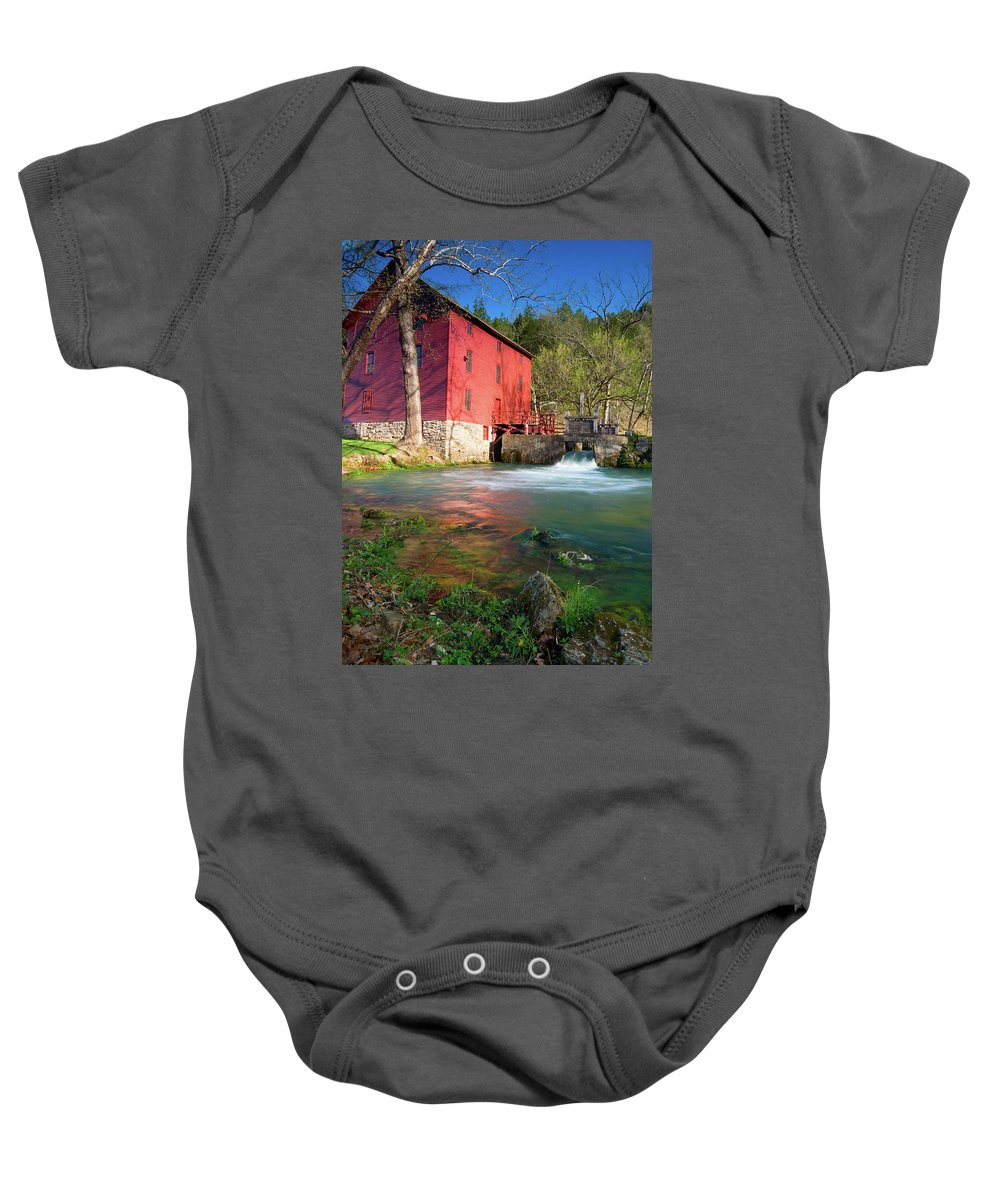 Missouri Baby Onesie featuring the photograph Red Mill by Steve Stuller