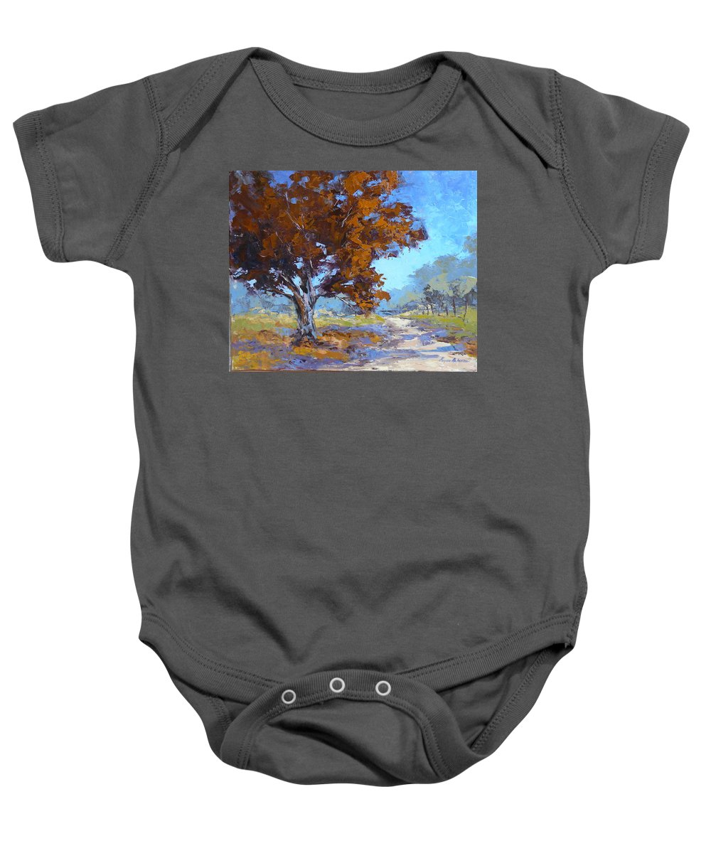 Landscape Baby Onesie featuring the painting Red Oak by Yvonne Ankerman