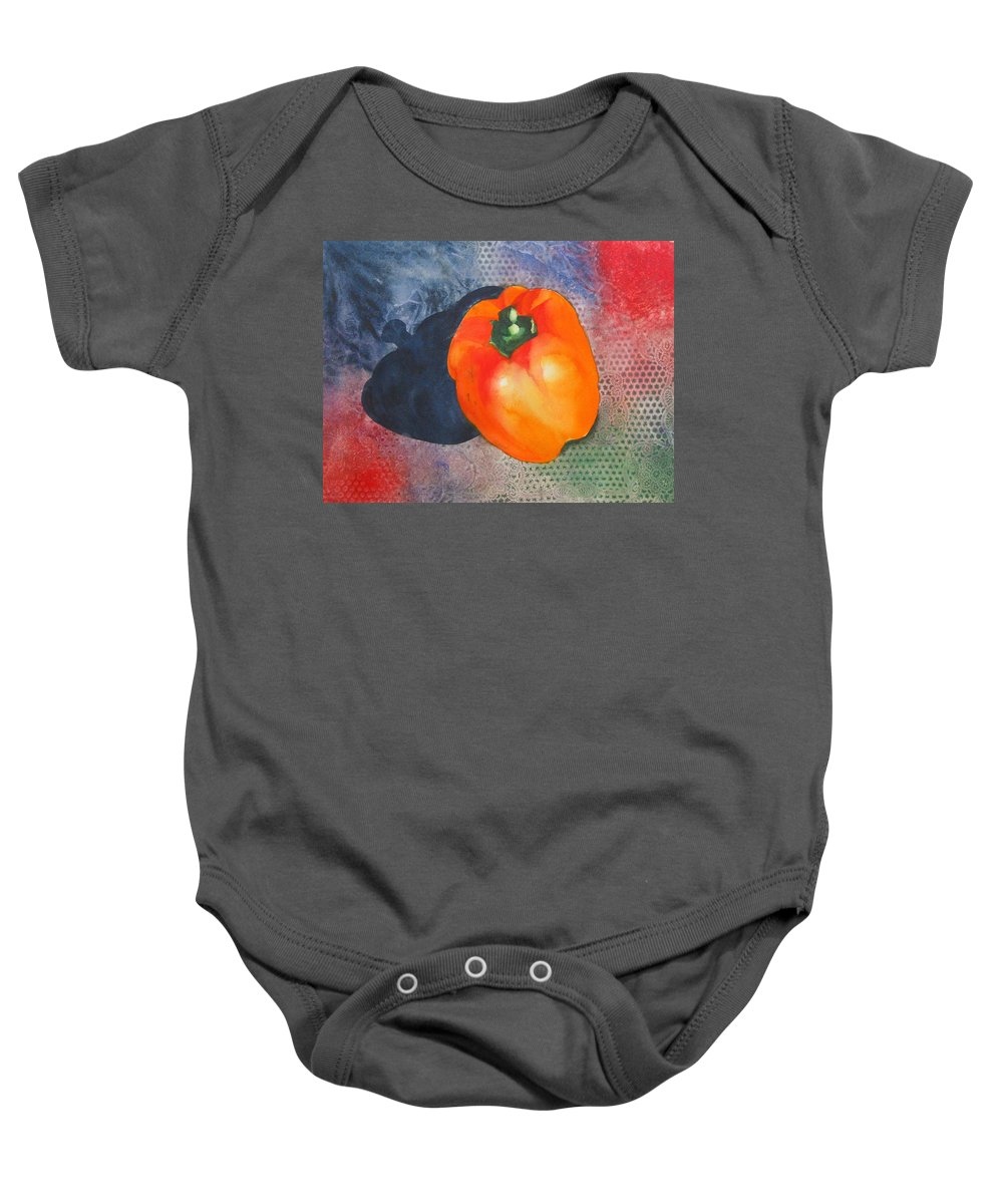 Pepper Baby Onesie featuring the painting Red Pepper Solo by Jean Blackmer