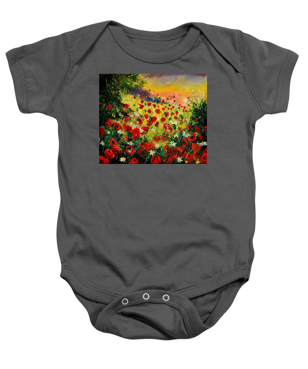 Tree Baby Onesie featuring the painting Red Poppies by Pol Ledent