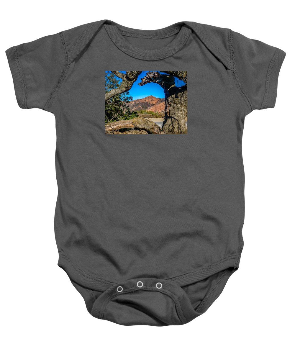 Red Rock Baby Onesie featuring the photograph Red Rock Cliffs by Pamela Newcomb