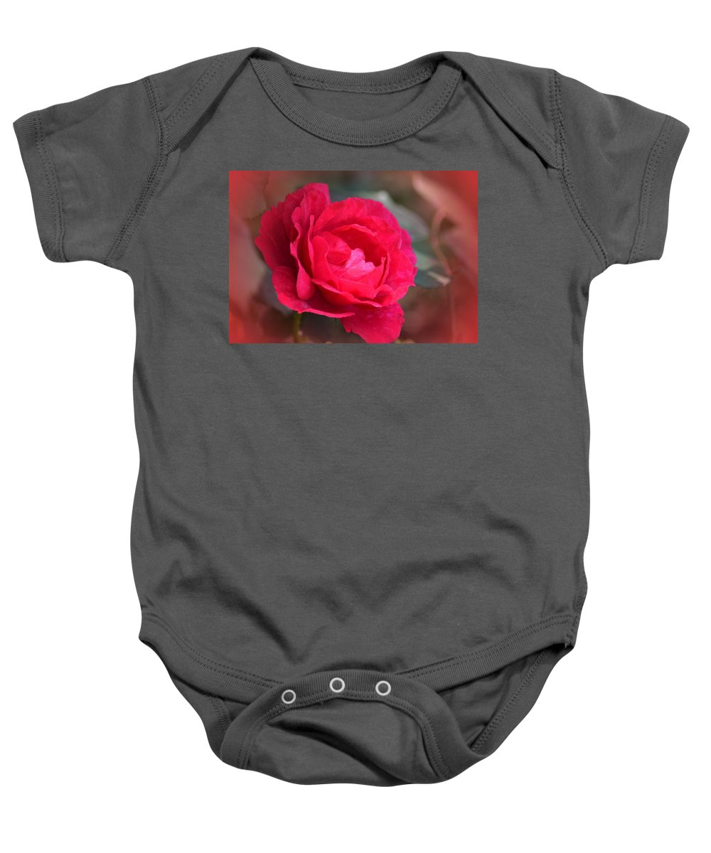 Red Rose Of May Baby Onesie featuring the photograph Red Rose Of May by Maria Urso