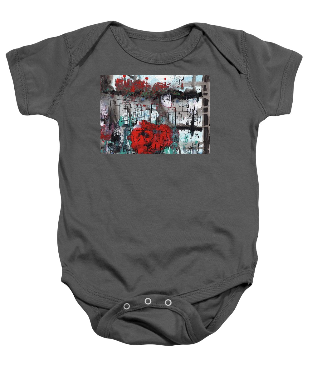 Abstract Baby Onesie featuring the painting Red Rover Red Rover by Wayne Potrafka