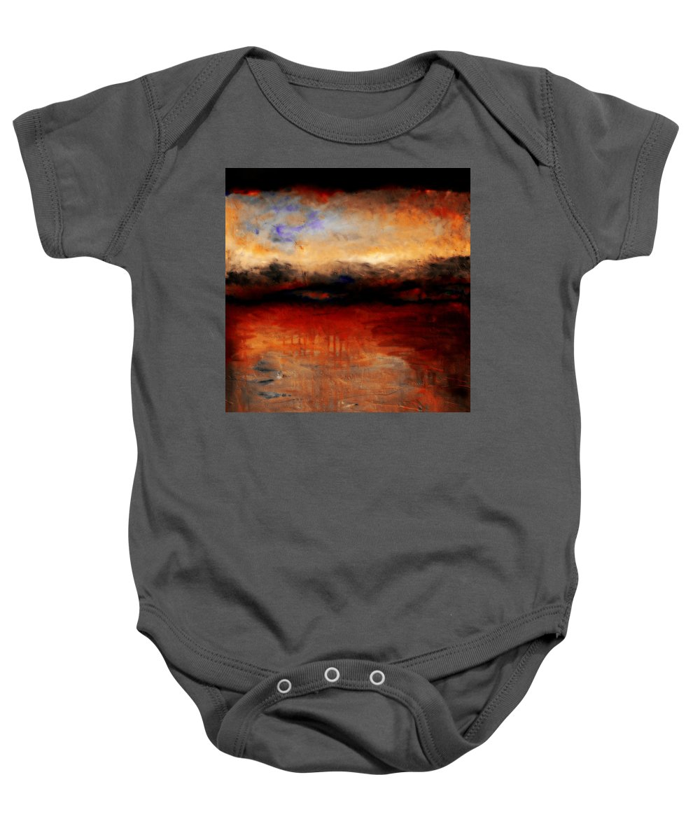 Night Baby Onesie featuring the painting Red Skies At Night by Michelle Calkins
