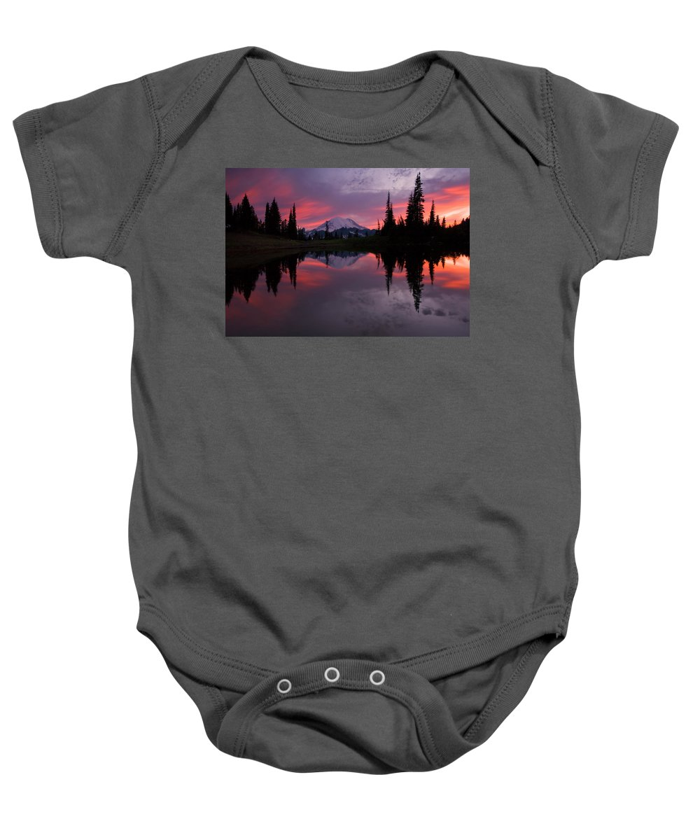 Rainier Baby Onesie featuring the photograph Red Sky At Night by Mike Dawson