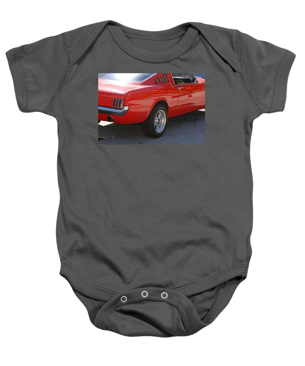 Ford Baby Onesie featuring the photograph Red Stang by Rob Hans