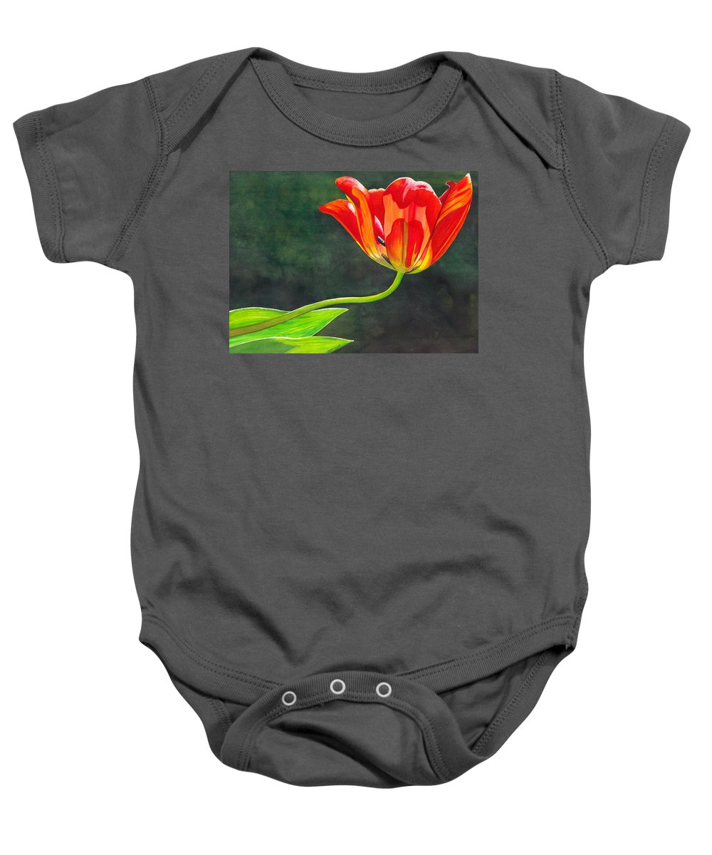 Tulip Baby Onesie featuring the painting Red Tulip by Catherine G McElroy