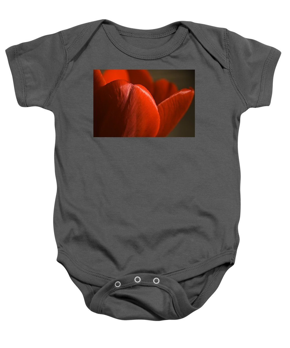 Tulip Baby Onesie featuring the photograph Red Tulip Up Close by Teresa Mucha