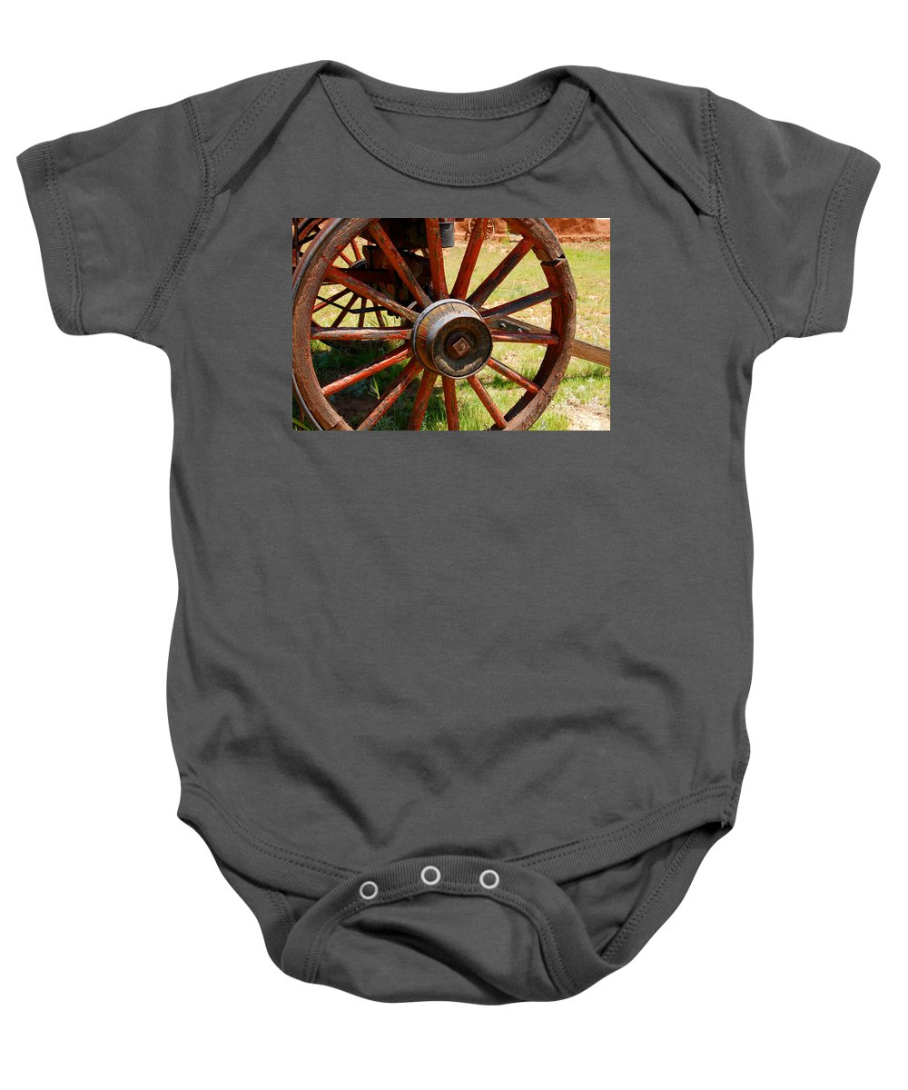 Wagon Baby Onesie featuring the photograph Red Wheels by David Lee Thompson