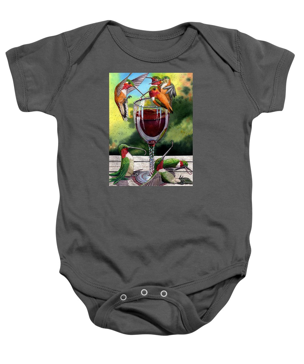 Hummingbird Baby Onesie featuring the painting Red Winos by Catherine G McElroy