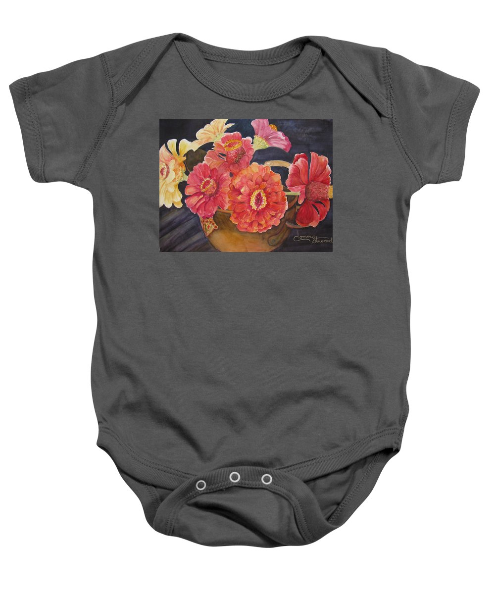 Flowers Baby Onesie featuring the painting Red Zinnias by Donna Steward