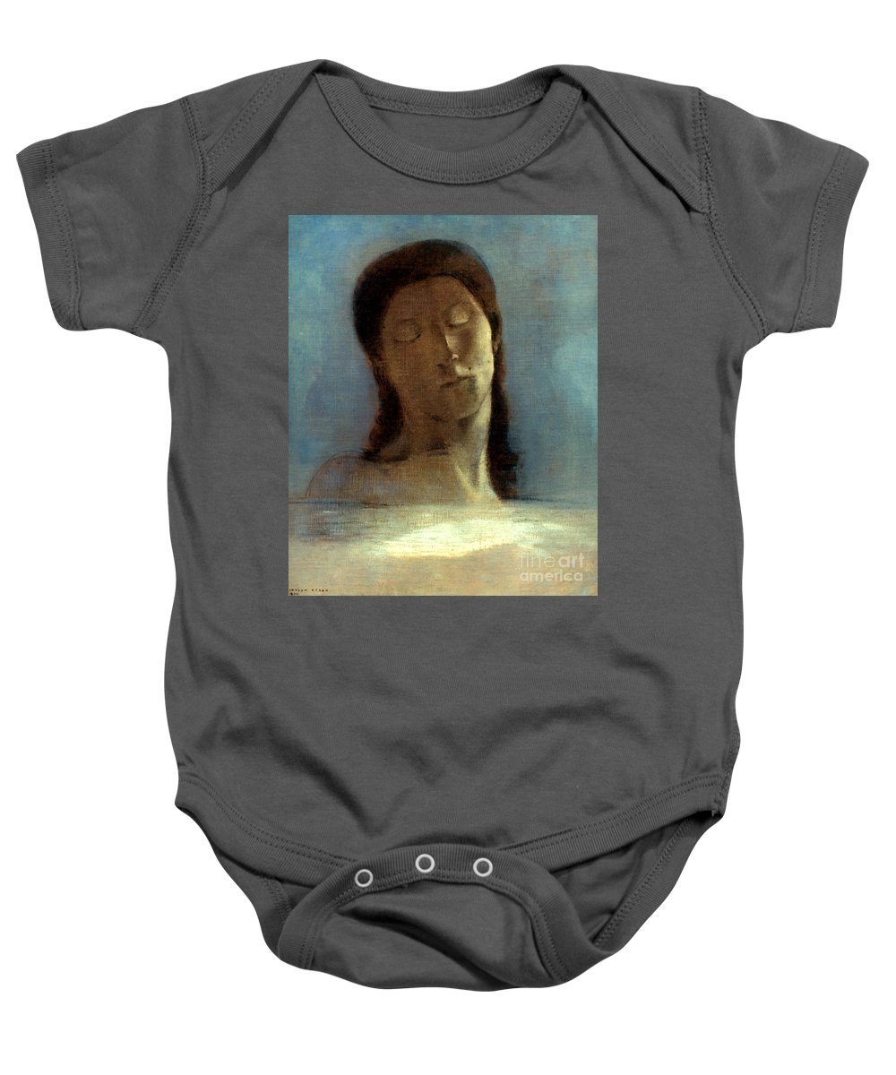 1890 Baby Onesie featuring the photograph Redon: Closed Eyes, 1890 by Granger