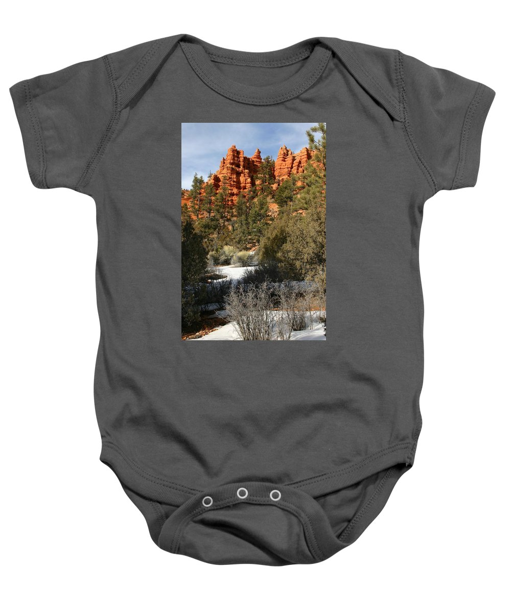 Red Rocks Baby Onesie featuring the photograph Redrock Winter by Nelson Strong