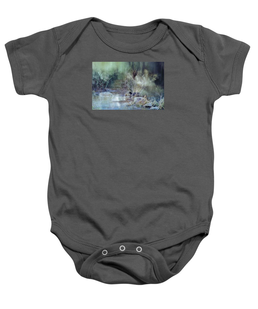 Coot Baby Onesie featuring the photograph Reflecting On A Misty Morning by Theresa Campbell