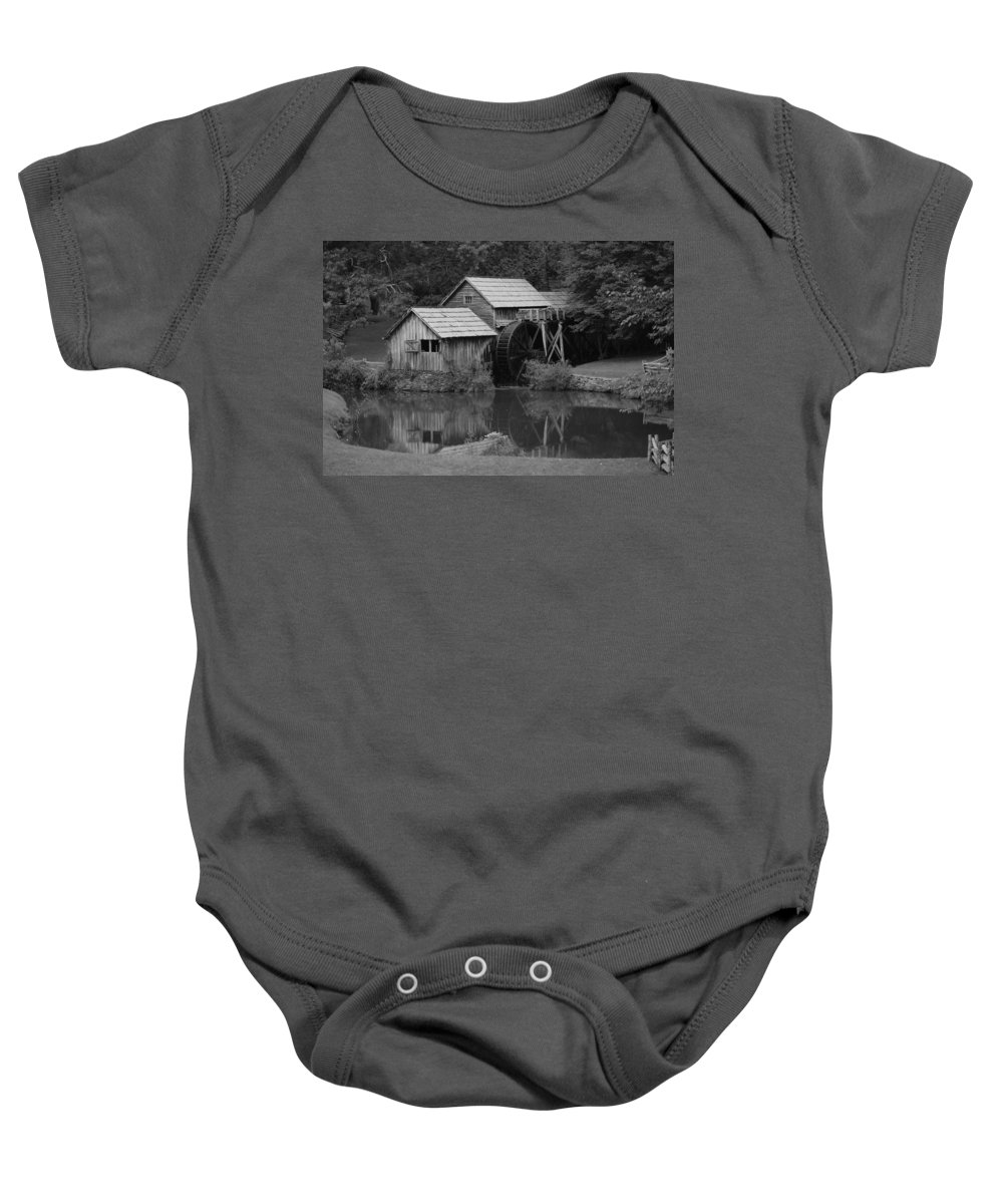 Mabry Mill Baby Onesie featuring the photograph Reflecting the Mill by Eric Liller