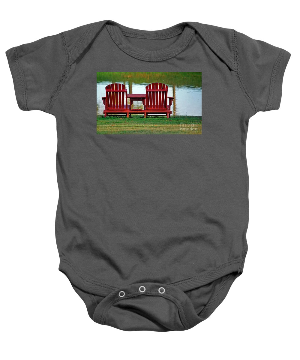 Chairs Baby Onesie featuring the photograph Reflection by Debbi Granruth